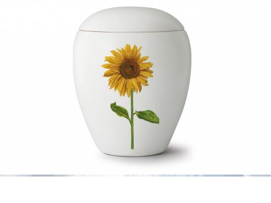 Keramikurne matt-weiß mit Sonnenblume